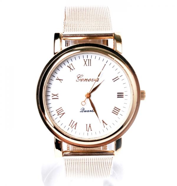 Дамски златен часовник с бял циферблат